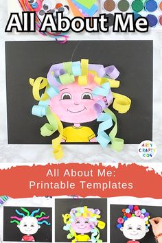 Printable All About Me drawing activities for kids. Adaptable for Preschool, Kindergarten, EYFS and beyond, and works perfectly at the beginning or end of the school year. Toddler Learning Activities, Craft Activities For Kids, Kindergarten Activities, Crafts For Kids, All About Me Activities For Preschoolers, Indoor Activities, Kids Diy, Summer Activities, Diy Crafts