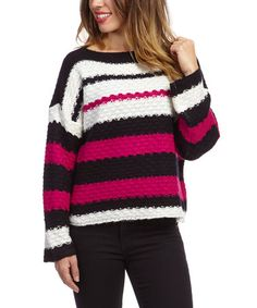 Another great find on #zulily! Black & Fuchsia Stripe Sweater by kersh #zulilyfinds