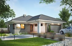 Projekt domu Miriam III 118,1 m2 - koszt budowy - EXTRADOM Simple Bungalow House Designs, Modern Bungalow House, Bungalow Exterior, Bungalow House Plans, Round House Plans, Dream House Plans, House Layout Plans, House Layouts, Minimal House Design