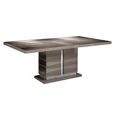 Monaco dining table with one leaf in high gloss velvet birch