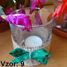 Svietnik sklenený s mašľou - Sviečka - S čajovou sviečkou (plus 0,10€), Vzor - Vzor 9