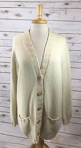 Malo Ivory 100% Cashmere Cardigan Sweater Long Sleeve Size 44 (Womens Large/XL)  | eBay