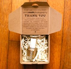 Photography client gifts - gold nailpolish in kraft box - a special way to say thank you to your clients
