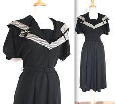 Vintage 1940's Dress // 40s Black Crepe Wiggle Dress Striped Sailor Collar // V for Victory // DIVINE on Etsy, $284.81 AUD