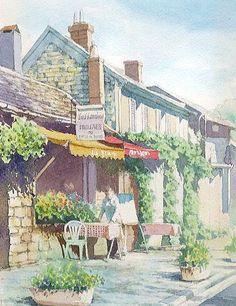【水彩画テラス】ヨーロッパの風景2 「朝のカフェ」フランス・バルビゾン