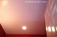 How to Install a Beadboard Paneled Ceiling via TheKimSixFix.com