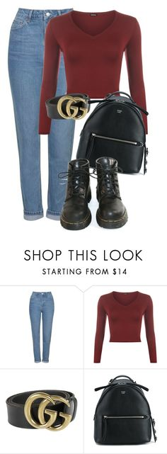"""""""Untitled #1438"""" by morggz ❤ liked on Polyvore featuring Topshop, WearAll, Gucci, Fendi and Dr. Martens"""