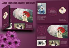 A pack of free business brochure templates by Tech Trainee. You won't find a part of any templates that is locked to edit & personalize. Salon Business, Business Brochure, Design Desk, Brochure Template, Business Fashion, Lady, Hair Styles, Free, Hair Plait Styles