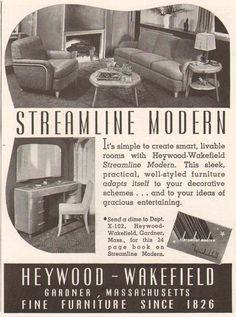 "Year/Era:  c.1950  Origin:  Print Advertisement  Size:  4.5"" x 6""  Description & Details:  Original vintage print magazine advertisement for Heywood Wakefield Streamline Modern furniture, Gardner, MA.  Source: Art Deco Diva (ebay store), http://stores.ebay.com//artdecodivastore"