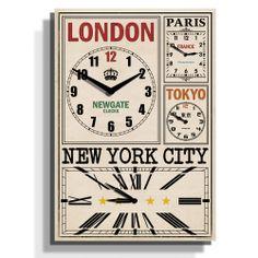 World Traveller's World Time Zone Clock - 62 x 43 x 4.5cm