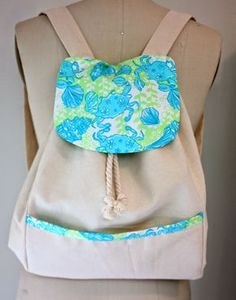 DIY Lilly Pulitzer canvas back pack tutorial and pattern    www.sipsewsavannah.blogspot.com
