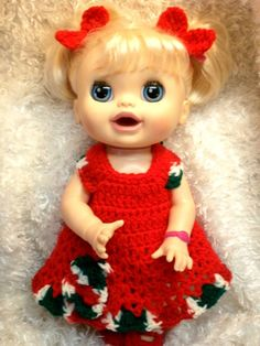 Clothes For 16 Inch Dolls .Red Holiday  by LoveWhatIDoCrochet4U