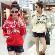 S-XL !!  2013 Spring Autumn women&Lady long sleeve fleece Linging hoodie sweatshirt/Christmas Deer,Pullover hoodie coat $10.99 - 11.99