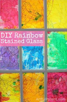 This DIY faux rainbow stained glass window is beautiful and easy to make! Use a crayon and watercolor resist art technique to make your own stained glass.