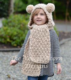 Ziyon Hooded Scarf Knitting pattern by The Velvet Acorn Crochet Bear, Diy Crochet, Hooded Scarf Pattern, Hooded Cowl, Velvet Acorn, Knitted Hats, Crochet Hats, Super Bulky Yarn, Mode Hijab