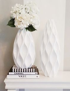 """Via insta-fan @leah.caroline: """"I love how the detail of these vases [I found these beauties at @zgallerie] adds some texture + interest to a simple space. """""""