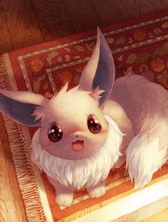 :d blush eevee from_above full-face_blush looking_up no_humans open_mouth pokemon rug smile solo tail toitoi508 wood_flooring
