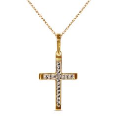 .01CT Diamond Cross Pendant in 10k Yellow Gold - Jewelry Deals 80% OFF + $25 OFF extra discount on purchases $500 & UP ! Enter PINPROMOT coupon at CHECKOUT to get $25 OFF when you place your order @ NissoniJwelry.com
