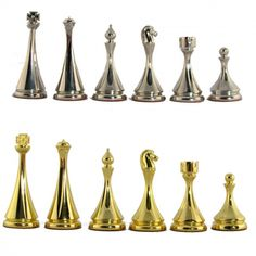 Modern yet beautifully shaped modern brass chess pieces.