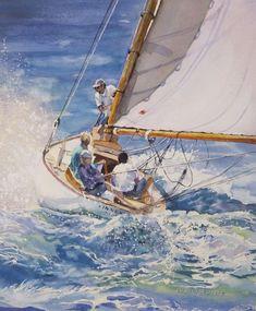 """Sailing by Claudia Engel; Boat Sketch, Watercolor Art Paintings, Watercolours, Deco Marine, Sailing Holidays, Sailing Regatta, Watercolor Techniques, Ocean Life, Sailing Ships"