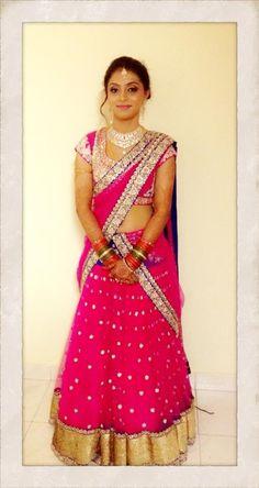 south indian bride | bridal makeup and half saree