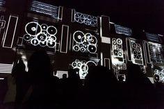 "Genius Loci Weimar 2013 Facade projection festival // Location: Bauhaus University Weimar // RDV Collectif: ""Legacy"" // Photo: www.henry-sowinski.info Genius Loci, Bauhaus, Facade, University, Neon Signs, How To Make, Weimar, Facades, Colleges"