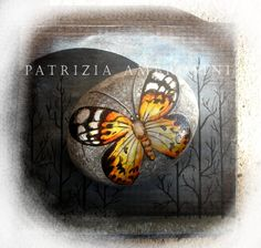 """Handpainted Butterfly No.6  rock painting by thestoneteller, $26.00,  - It measures approximately: Length 2.25"""" ; Width 1,73""""; Thickness 0,91""""( 5.7x 4.4x 2.3 cm)"""