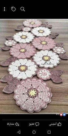 Crochet Mat, Crochet Coaster Pattern, Crochet Doily Diagram, Crochet Flower Tutorial, Crochet Home, Crochet Doilies, Crochet Flowers, Free Crochet Square, Crochet Square Patterns