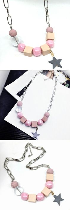 Candy Color Pink Beads Star Choker Necklace For Women 2017 New Summer Necklaces & Pendants Jewelry Bijoux Gifts Wholesale