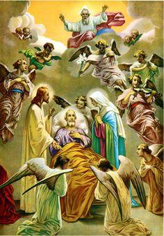 The Death of Saint Joseph with the holy family Catholic Prayers, Catholic Art, Catholic Saints, Roman Catholic, Religious Images, Religious Art, Catholic Pictures, Religion, Blessed Mother Mary