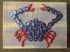 Refunked Bottle Cap Art Crab by ReFunked1 on Etsy