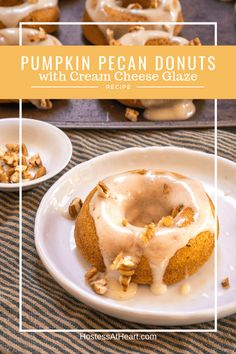 Pumpkin Pecan Donuts with Cream Cheese Glaze soft, tender and delicious! These baked pumpkin spice donuts take less than 10 minutes to bake and 2 seconds to eat. Pumpkin Donuts Recipe, Easy Donut Recipe, Baked Donut Recipes, Baked Breakfast Recipes, Pumpkin Recipes, Fall Recipes, Baked Pumpkin, Pumpkin Spice, Cream Cheese Glaze
