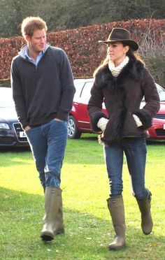 Prince Harry and Kate Middleton, the Duchess of Cambridge - Wellies