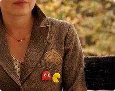 Pacman handmade felt brooches set of 5.  via Etsy.