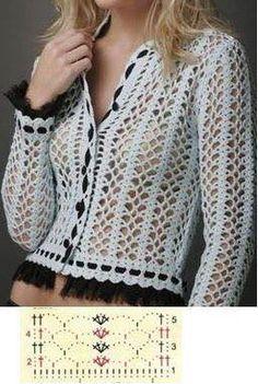 Captivating Crochet a Bodycon Dress Top Ideas. Dazzling Crochet a Bodycon Dress Top Ideas. Black Crochet Dress, Crochet Cardigan, Crochet Jacket Pattern, Crochet Patterns, Irish Crochet, Crochet Lace, Crochet Tops, Crochet Woman, Handmade Clothes