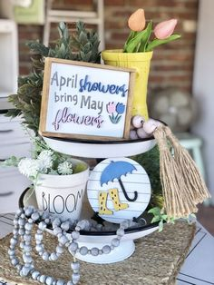 Feb 4, 2021 - Spring tiered tray bundle | April showers bring May flowers mini 3D framed mini sign | faux shiplap umbrella and rain boots round| set of 2 Please note my turnaround time is approximately 2 weeks. Set of 2 includes: *faux shiplap round - Faux shiplap with 3D (raised) umbrella and rain boots in Seasonal Decor, Fall Decor, Spring Decorations, Kitchen Tray, Kitchen Decor, April Showers, Tray Styling, Faux Shiplap, Tiered Stand