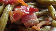 Holiday Green Beens...canned green beans drained, tbsp brown sugar, 1/2 tbsp butter, a little bacon grease and chunks of cooked bacon. I microwave the bacon on a paper plate between paper towels for ease of cleanup.