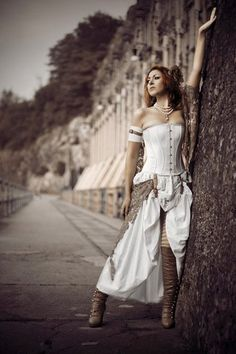 steampunk look for a girl, white dress