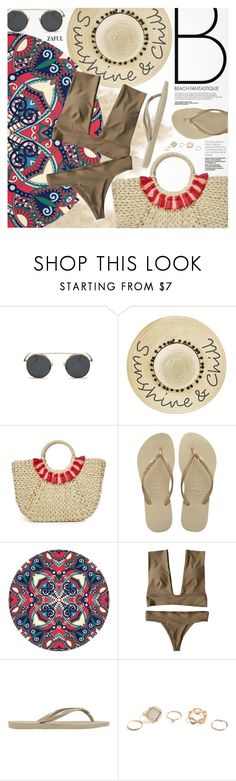 """Vacation Style"" by pokadoll ❤ liked on Polyvore featuring Betsey Johnson, Hat Attack, Havaianas and GUESS"