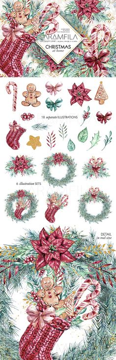 Traditional Christmas Clipart  @creativework247