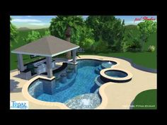 Amazing ideas for small backyard landscaping : Swim Up Bar Pool video Small Backyard Pools, Backyard Pool Landscaping, Backyard Bar, Backyard Pool Designs, Swimming Pools Backyard, Swimming Pool Designs, Outdoor Pool, Landscaping Ideas, Landscaping Edging