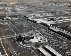 LAX in the 1960s... Theme Building and United Airlines terminals, Los Angeles, CA
