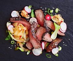 Grilled Wagyu Fillet Steak  with Radishes, Bok Choi and Daikon  Pickled Korean kimchi-style in Chilli Bean Paste (sugar-free)