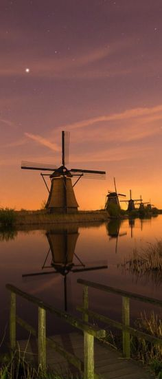 Dutch Windmills at Kinderdijk, Netherlands