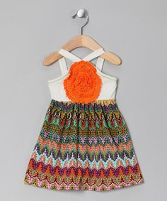 Take a look at this White & Orange Wave Blooming Rose Dress - Toddler & Girls by Freckles + Kitty on #zulily today! http://www.zulily.com/invite/vhanson979