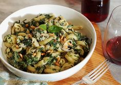 Trottole with Spinach Basil Sauce recipe, pasta with spinach recipe, pasta with spinach and basil recipe, pasta with spinach basil goat cheese recipe