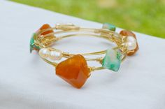 Wire Wrapped Orange Agate, Teal Shells, and Freshwater Pearls Bangle Bauble Bracelet Set