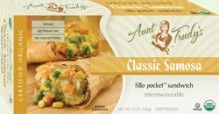 Organic Classic #Samosa Fillo Pocket Sandwich (5 oz.) - Potatoes, peas, onions, carrots and corn seasoned with garlic, cilantro, cumin, ginger, coriander, turmeric and red pepper, wrapped with Organic Fillo dough in the shape of a hand-held rectangle. Microwavable. #Healthy: USDA #Organic, #Vegan, #Kosher OU-Parve, Yeast-Free, No Trans-Fat, No Cholesterol. See nutrition or shop online: http://www.fillofactory.com/brands/brands-aunt-trudys.html. #Indian