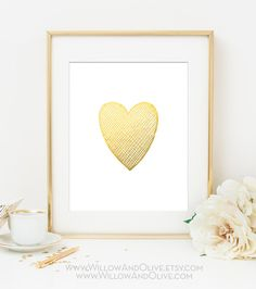 HEART Faux Gold Foil Art Print  White & Gold  by WillowAndOlive, $9.00
