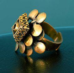 Pentti Sarpaneva for Turun Hopea, vintage modernist bronze ring. #Finland